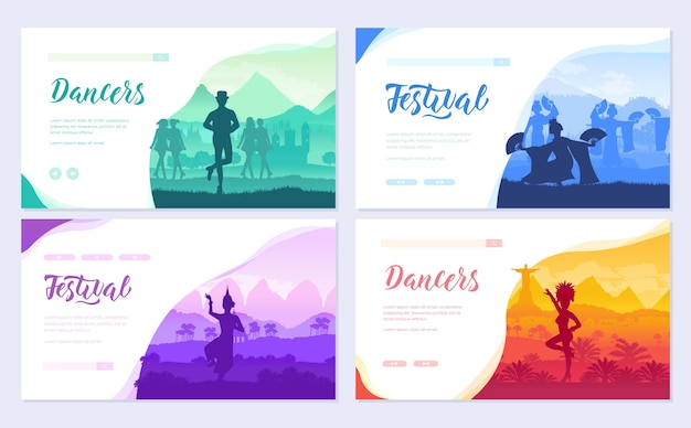 Szablon cultural dancer styles flyear, baner internetowy, nagłówek interfejsu użytkownika, wejście na stronę.
