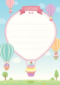 Szablon cupcake balon