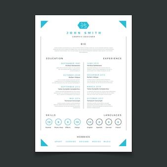 Szablon cv. profesjonalne wznowienie projektowania ze szczegółami biznesowymi. program nauczania i najlepsze prace wznawiają makietę wektorów