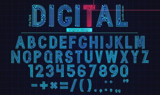Szablon cyfrowy alfabet liniowy
