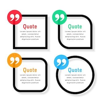 Szablon cytatów w stylu pogrubionej linii w różnych kształtach