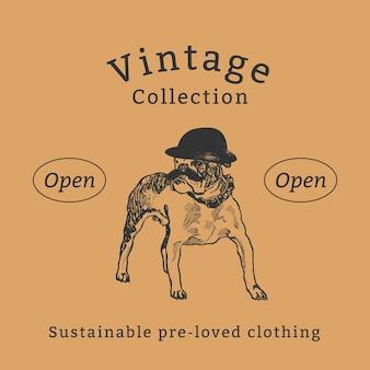 Szablon cytatu o modzie vintage, zremiksowany z dzieł moriza junga
