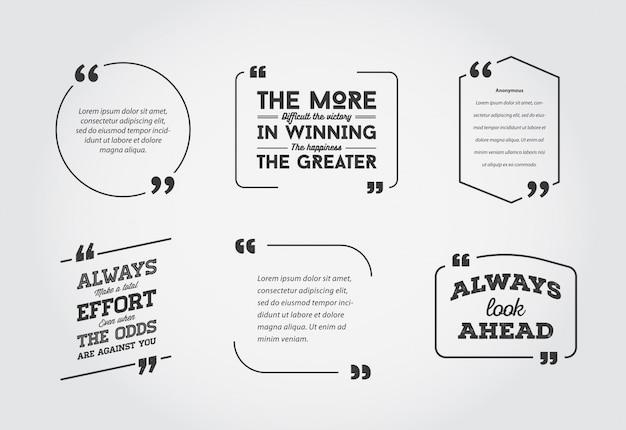 Szablon cytatu typograficznego bańka. zestaw szablonów