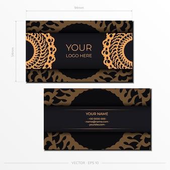 Szablon czarne wizytówki reprezentacyjne. ozdobne ozdoby wizytówki, orientalny wzór, ilustracja.