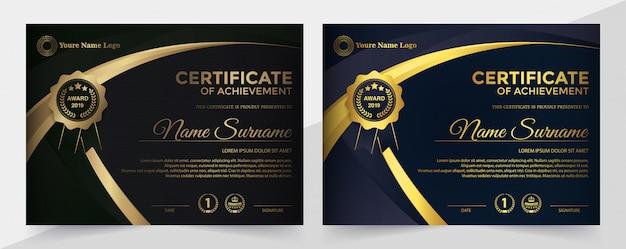 Szablon czarnego certyfikatu premium