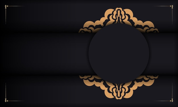 Szablon czarnego transparentu z luksusowymi ozdobami na logo. wektor gotowy do druku projekt pocztówki z rocznika ozdoby.