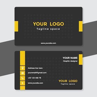 Szablon czarno-żółtej wizytówki