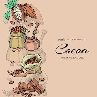 Szablon czekolada, kakao i ziarna kakaowego