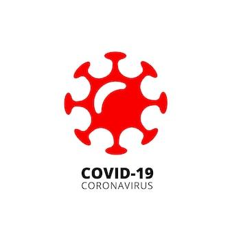 Szablon czerwonego logo covid-19