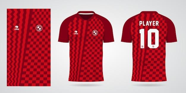 Szablon czerwonej koszulki sportowej na stroje drużynowe i projekt koszulki piłkarskiej