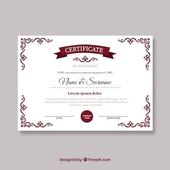 Szablon czerwony certyfikat retro