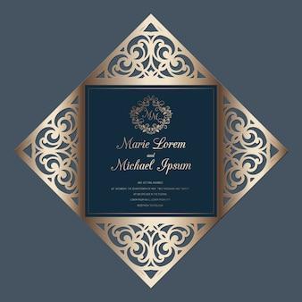 Szablon czterokrotnie wycinany laserowo weselny szablon, odpowiedni na kartki okolicznościowe, zaproszenia, menu.