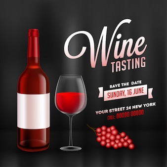 Szablon degustacja wina lub projekt karty promocyjnej z realistyczną butelkę wina i szklankę napoju na błyszczącym czarnym tle.