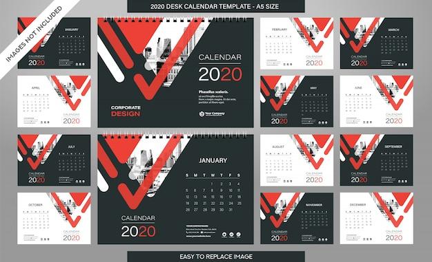 Szablon desk calendar 2020 - 12 miesięcy w zestawie