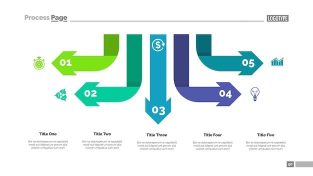 Szablon diagram infografika pięć strzałek