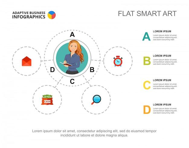 Szablon diagramu czterech elementów do prezentacji. wizualizacja danych biznesowych.