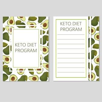 Szablon diety ketogenicznej, niska zawartość węglowodanów, wysoka zawartość zdrowego tłuszczu - wektor z awokado