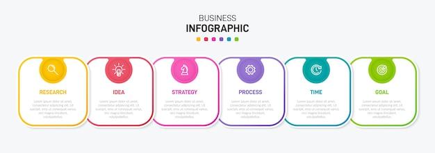 Szablon dla biznesu infografiki sześć opcji lub kroków z ikonami i tekstem