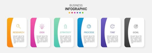 Szablon dla biznesu plansza. sześć opcji lub kroków z ikonami i tekstem.