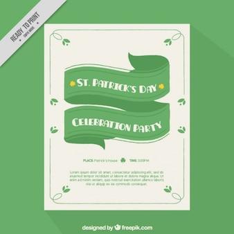 Szablon dni broszura świętego patryka z zieloną wstążką