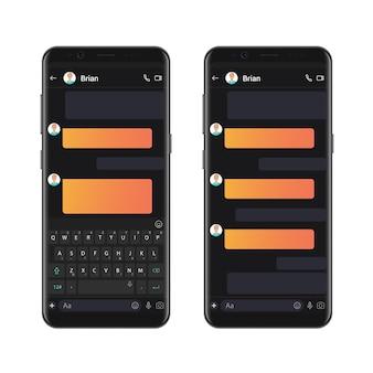 Szablon do czatowania w ciemnym stylu smartfona z edytorem makiet dialogów pustych bąbelków czatu