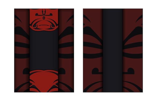 Szablon do druku pocztówek w kolorze czarnym z maską bogów. przygotowanie zaproszenia z miejscem na tekst i twarzą we wzorach w stylu polizeniowym.