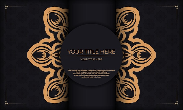 Szablon do druku zaproszenia do druku z greckim ornamentem. czarne tło z rocznika ozdoby i miejsce na swój projekt.