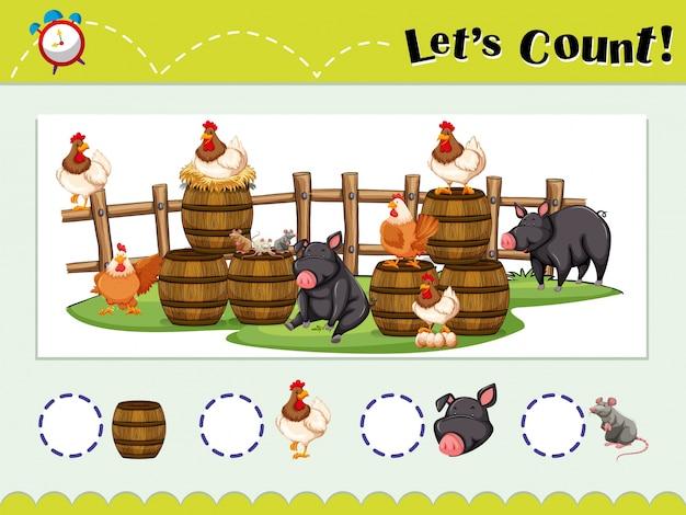 Szablon do gry dla liczenia zwierząt