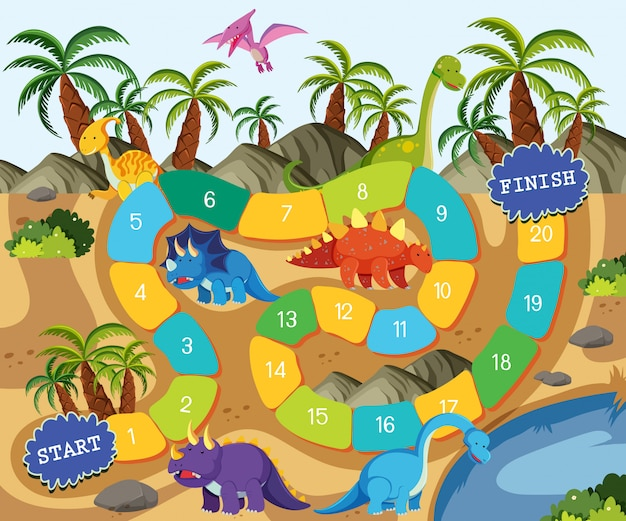 Szablon do gry planszowej dinozaura