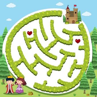 Szablon do gry puzzle z księciem i księżniczką