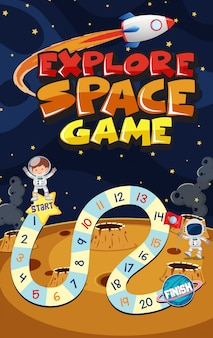 Szablon do gry z astronautą i statkiem kosmicznym