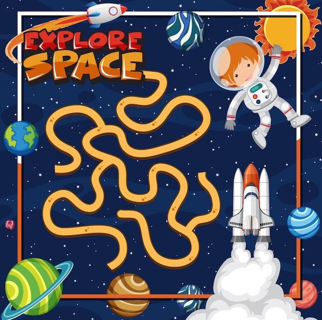 Szablon do gry z astronautą i wieloma planetami