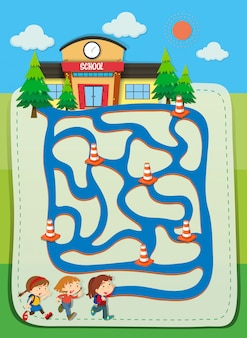 Szablon do gry z dziećmi chodzącymi do szkoły