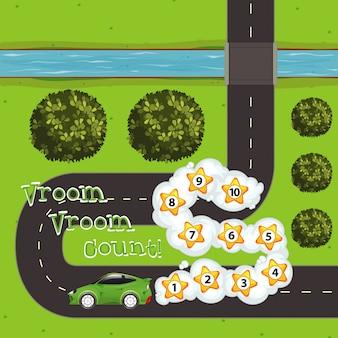 Szablon do gry z samochodem i liczbami na drodze