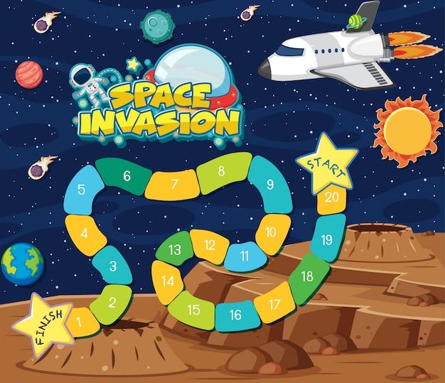 Szablon do gry ze statkiem kosmicznym i planetami