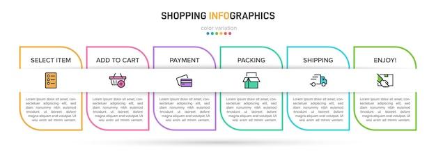 Szablon do infografiki biznesowej. sześć opcji lub kroków z ikonami i przykładowym tekstem.