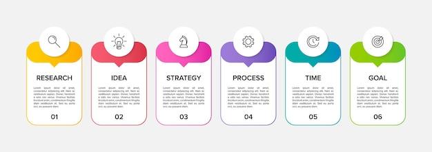 Szablon do infografiki biznesowej. sześć opcji lub kroków z ikonami i tekstem.