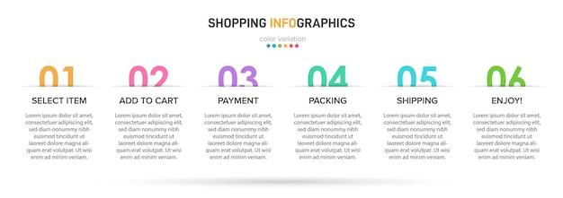Szablon do infografiki biznesowej. sześć opcji lub kroków z liczbami i przykładowym tekstem.