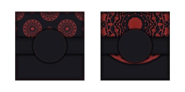 Szablon do nadruku pocztówki czarne kolory z greckim ornamentem. wektor przygotuj zaproszenie z miejscem na tekst i wzory luksusowe.