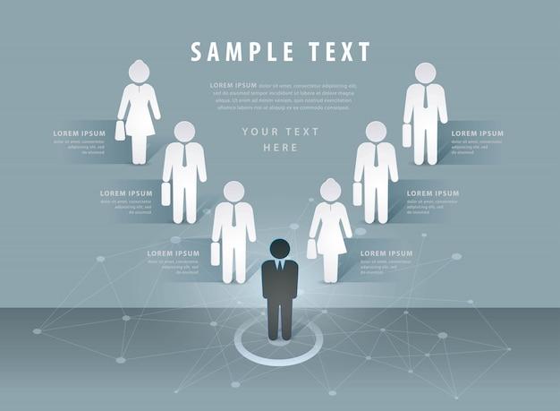Szablon do projektowania graficznego informacji, wykres procesu przetwarzania danych firmy. wektor do prezentacji