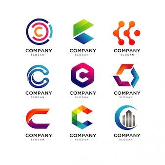 Szablon do projektowania logo litery c.