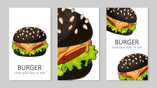 Szablon do reklam hamburgerów z różnych receptur.