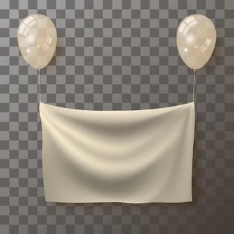 Szablon do umieszczenia reklamy w postaci realistycznego pomarszczonego materiału zawieszonego na balonach.