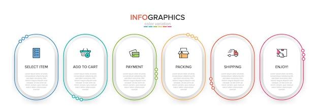 Szablon do zakupów infografiki sześć opcji lub kroków z ikonami i tekstem