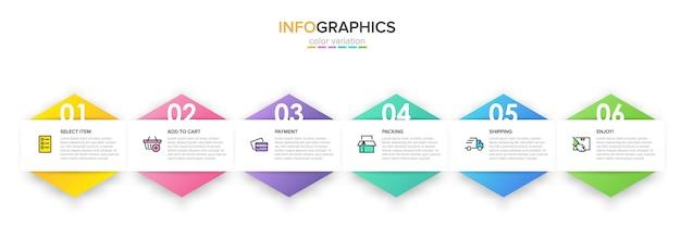 Szablon do zakupów infografiki z opcjami lub krokami