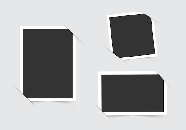 Szablon do zdjęć na białym tle na szarym tle