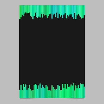 Szablon dokumentu z pasków pionowych w odcieniach zieleni - broszura wektorowa grafiki z czarnym tłem