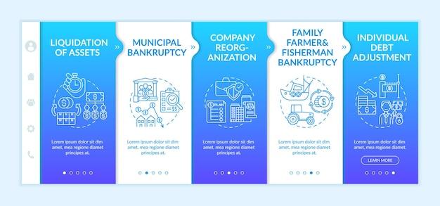 Szablon dołączania do upadłości firmy. miejski kryzys finansowy. indywidualna korekta zadłużenia. responsywna witryna mobilna z ikonami. ekrany krok po kroku strony internetowej. koncepcja koloru