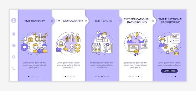 Szablon dołączania kryteriów analizy zespołu zarządzającego. różnorodność i demografia tmt. responsywna witryna mobilna z ikonami. ekrany krok po kroku przeglądania strony internetowej. koncepcja kolorów rgb