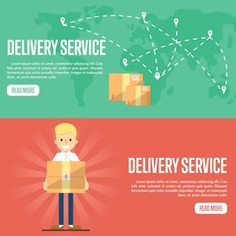 Szablon dostawy poziomy baner usługi